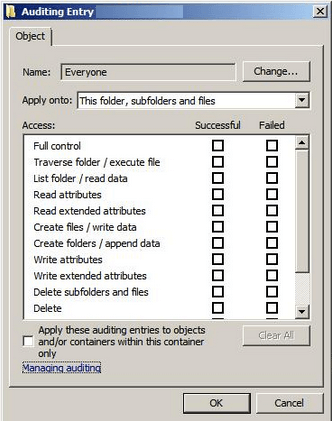 Auditing Dialog Box