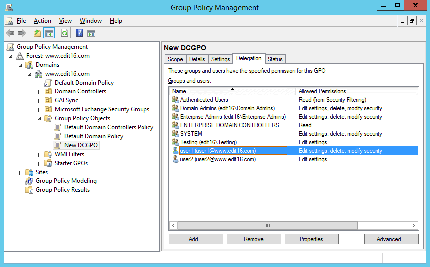 Figure 5 Users with write access to GPO