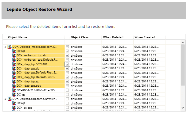 Lepide Restore AD Objects