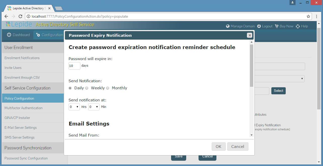 Creating a Password Expiry Notification reminder schedule with specific criteria
