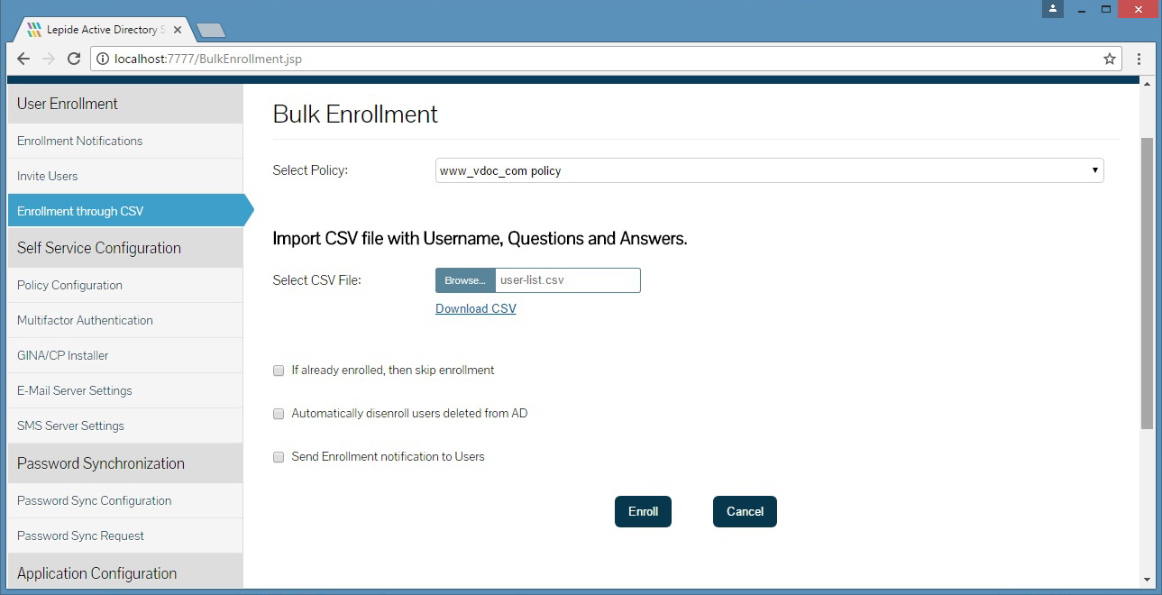 Selecting a bulk enrolment policy, importing a CSV file and determining email notification settings