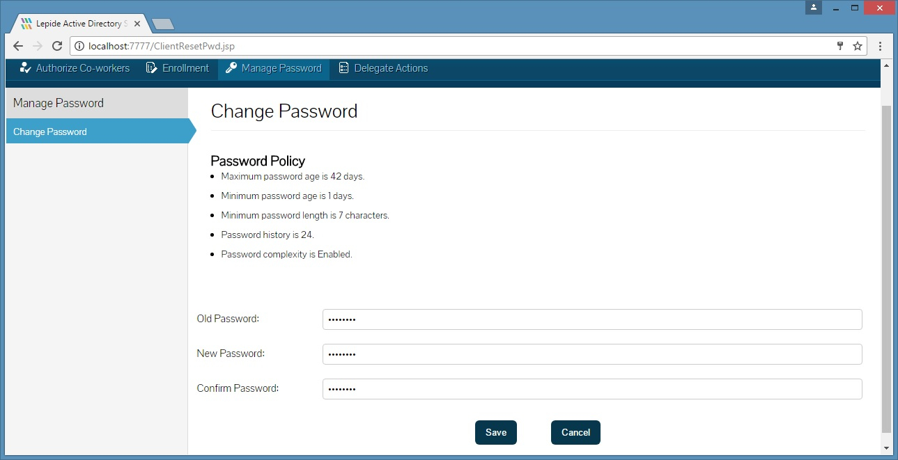 Managing passwords with Lepide Active Directory Self Service
