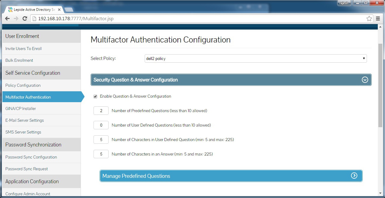 Multifactor authentication configuration in the form of Q&A