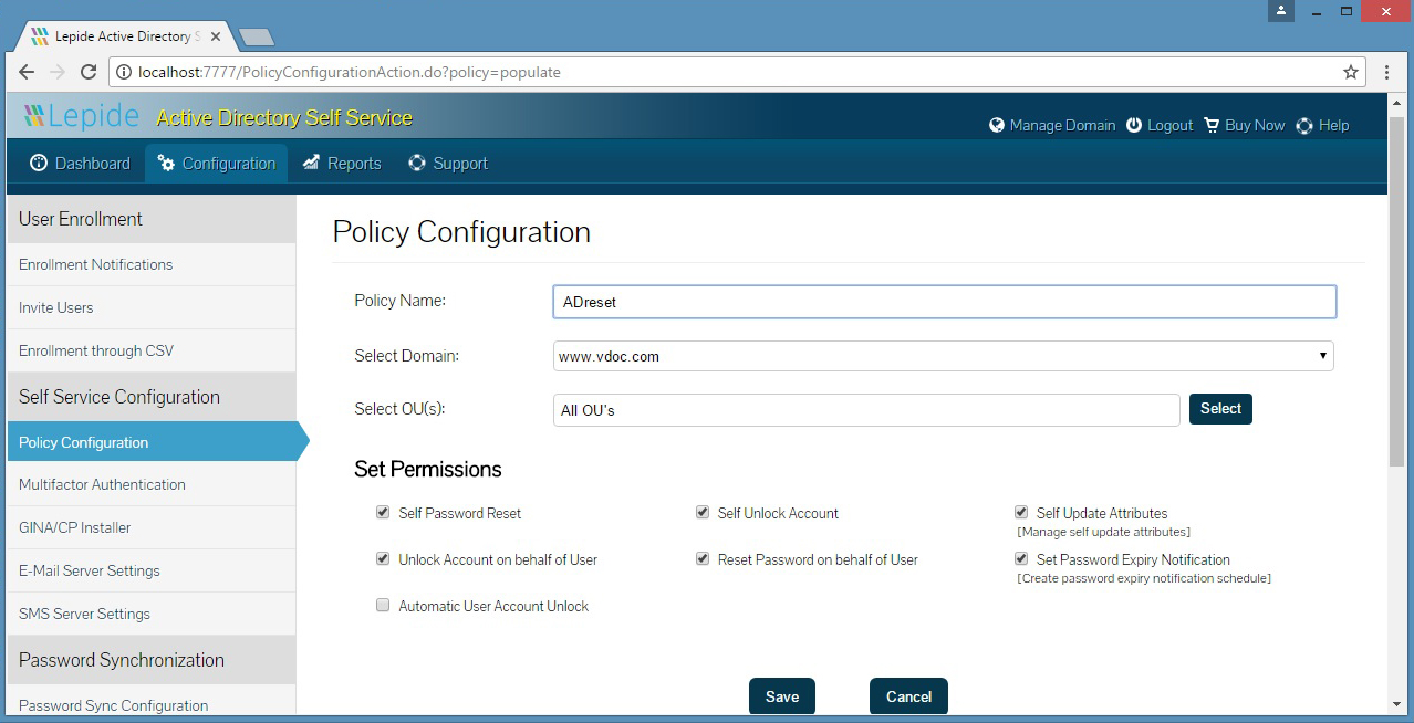 A policy configuration to set permissions for selected OUs enabling them to reset passwords, unlock accounts and update attributes