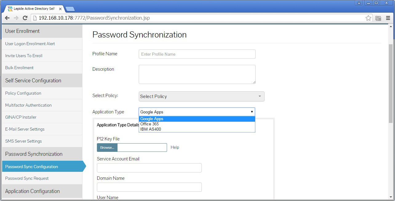 An example of password synchronization configuration