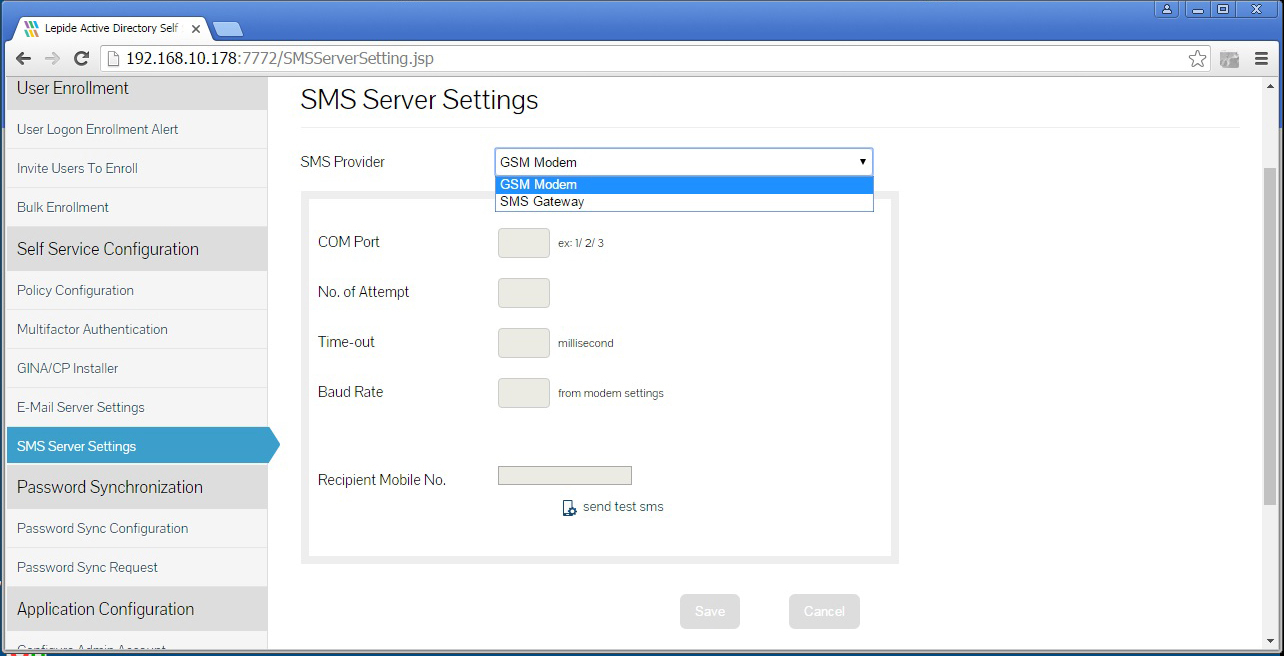 Defining the settings for the SMS Server