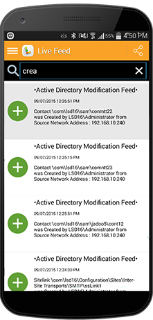 LepideAuditor mobile app displayed on an android device