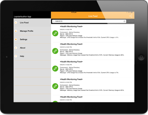LepideAuditor mobile app displayed on an iPad