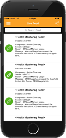 LepideAuditor mobile app displayed on an IOS device