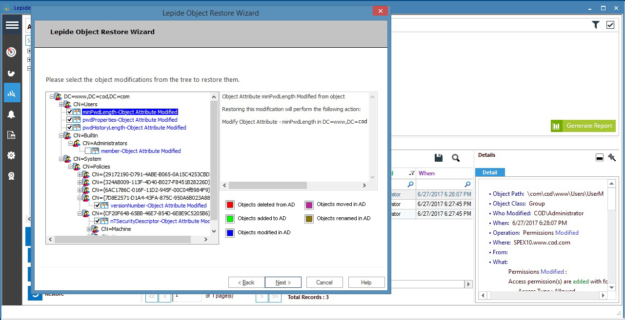 Restore unwanted Active Directory and Group Policy changes