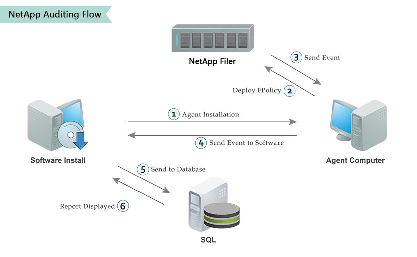 An infographic displaying the NetApp auditing flow from agent installation all the way through to the report being displayed