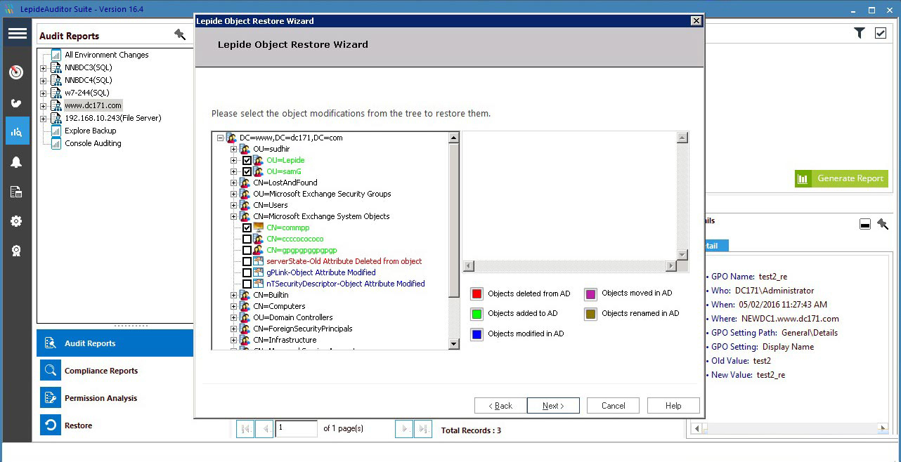 A screenshot of the Lepide Object Restore Wizard showing how to restore object modifications - including objects deleted/added/modified/moved/re-named in Active Directory