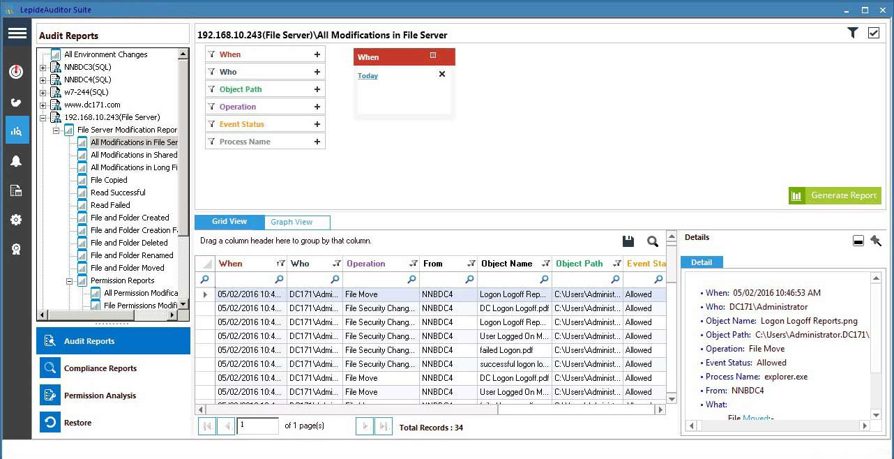 A screenshot of our File Server changes audit report with a user specified time period