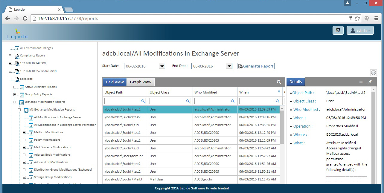 A report showing all modifications in Exchange Server on our secure web console