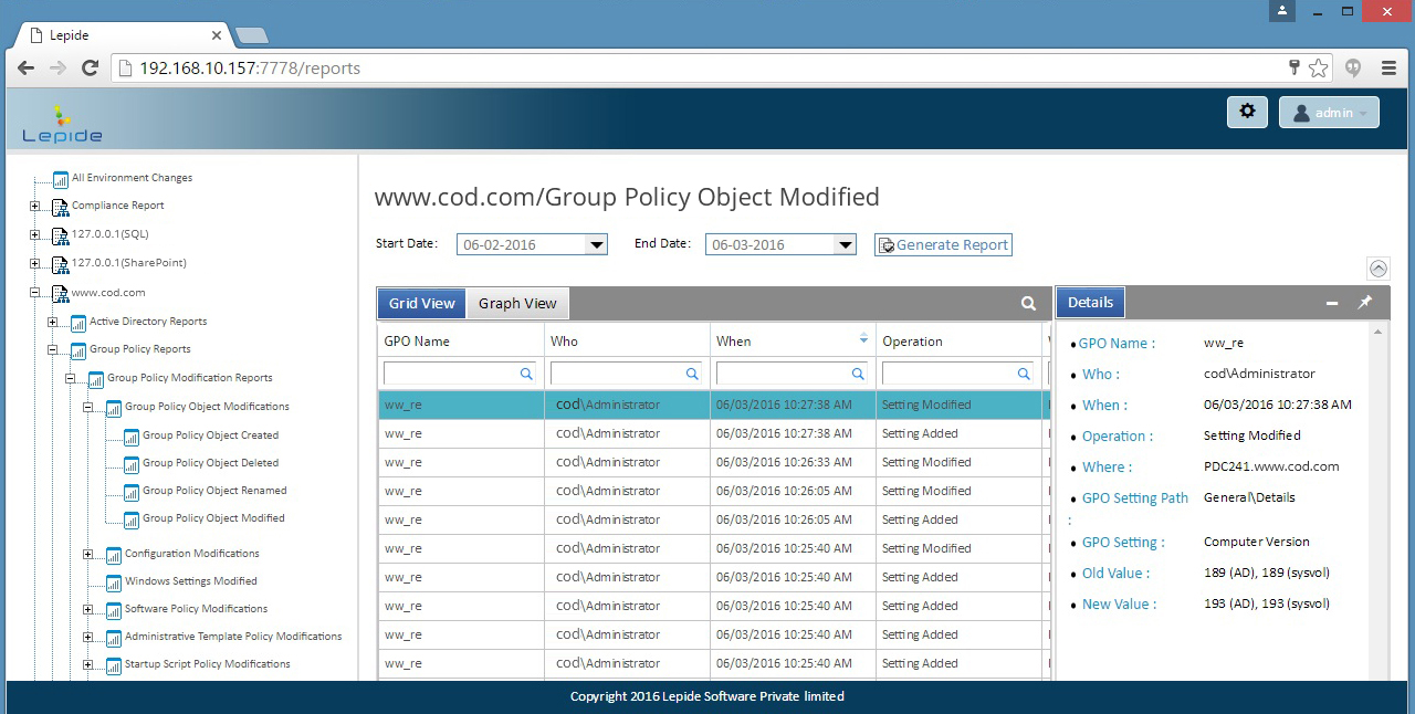 Delegate access to our secure web console that can display chosen Group Policy Modified Reports securely