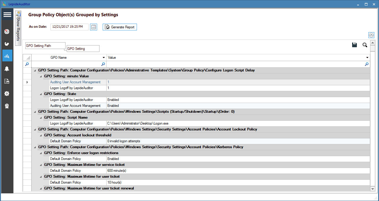 An example of a pre-set PCI compliance report to audit modifications in group policy