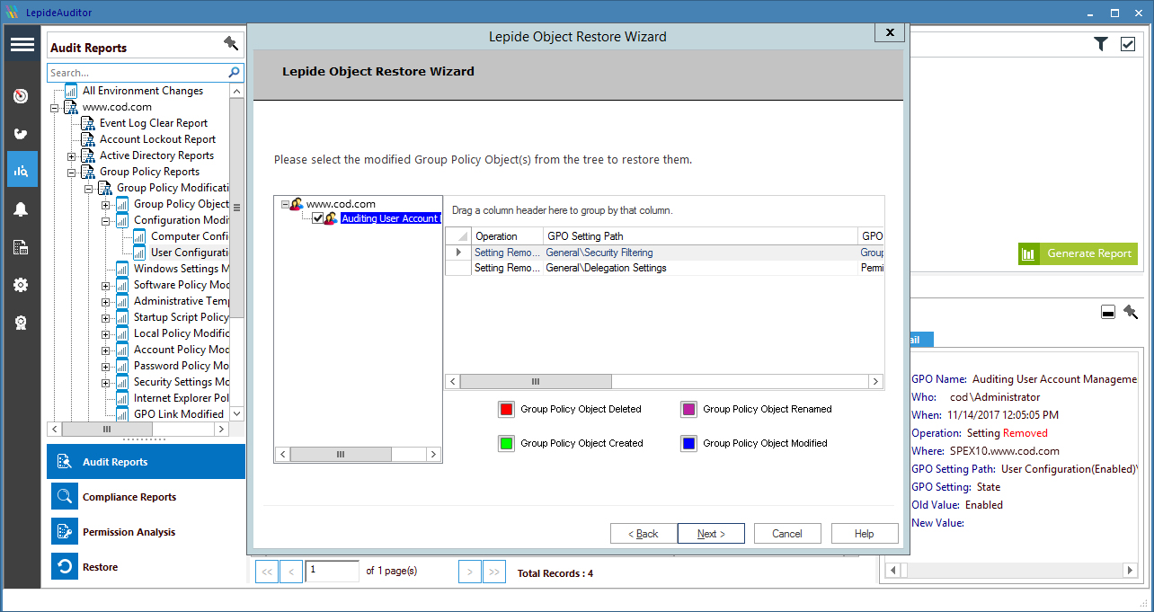 Audit Group Policy easily using our intuitive dashboard with graphical displays for Group Policy changes