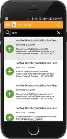 A screenshot of the Active Directory Modification Feed of our LepideAuditor App displayed on a hand-held device