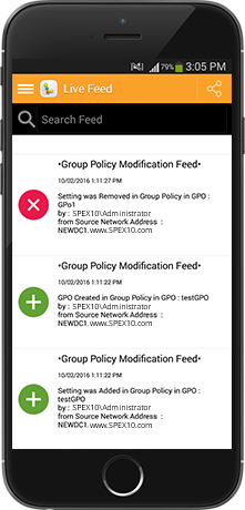A screenshot of the Group Policy Modification live feed shown on a mobile device