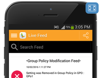 Our Group Policy Modification Feed on the LepideAuditor App