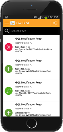A screenshot of the SQL Modification live feed shown on a mobile device