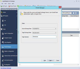 Selecting Source & Target Exchange Server and Entering Target User Name